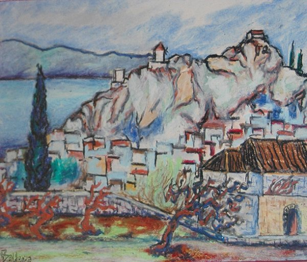 4008: Village On The Lake; Watercolor by Georg Balder;