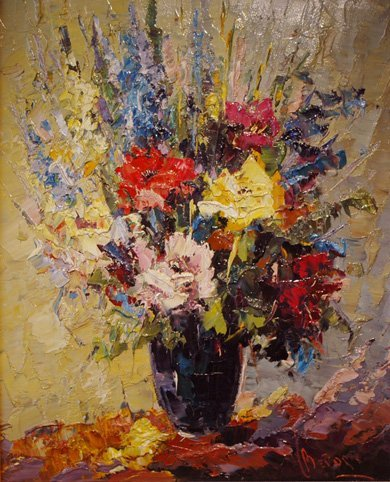 4017: Impressionist Flowers; Oil on canvas by Bevort Jo