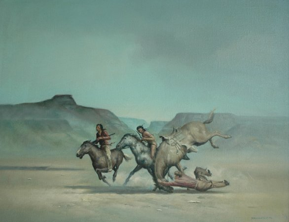 "4021: ""Man Falling from Horse""; Oil on canvas by Bodner"