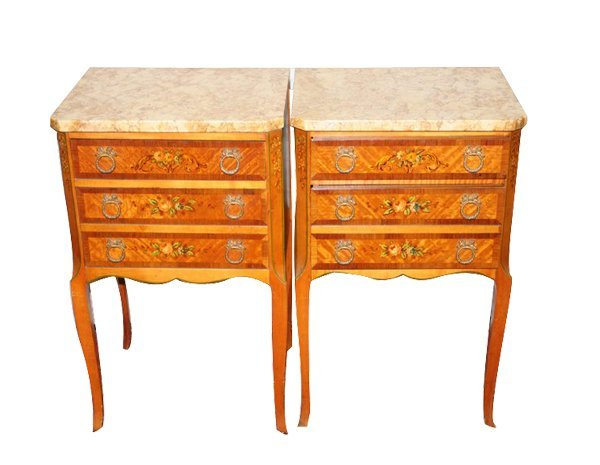 4369: French painted Fruitwood End Tables; Media: wood