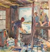 Stella Henoch (American 20th c) - Salting Pollack