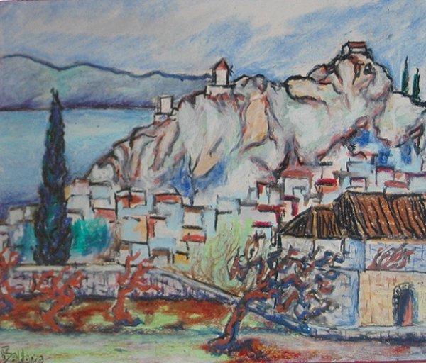 "2: Balder Georg (Swiss 1810-1882) ""Village on the Lake"""