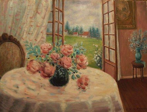 """5: Baudaux Monique (Belgian 1931-2009)  """"Flower Table W"""