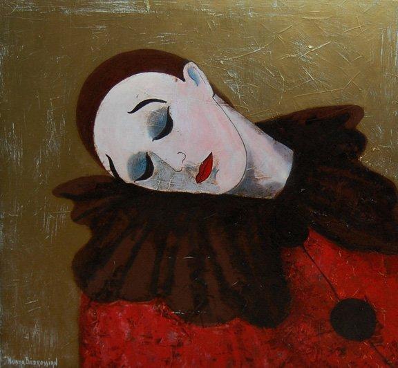 """12: Bedrossian Nubar (French 20th century) """"Clown au re"""