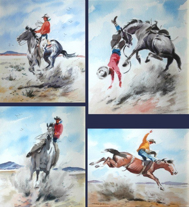 1: Long Stanley (American 1892-1972) Set of 4 paintings