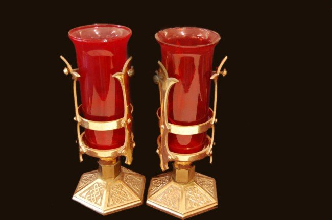 4: Pair of ruby glass and bronze Gobelets, size: 14.5