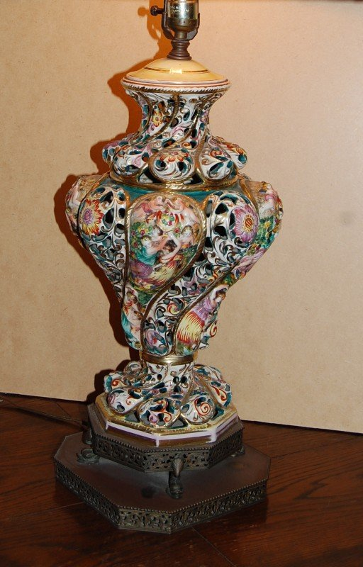 5: hand-painted CAPODIMONTE lamp from 1900's Italy in b