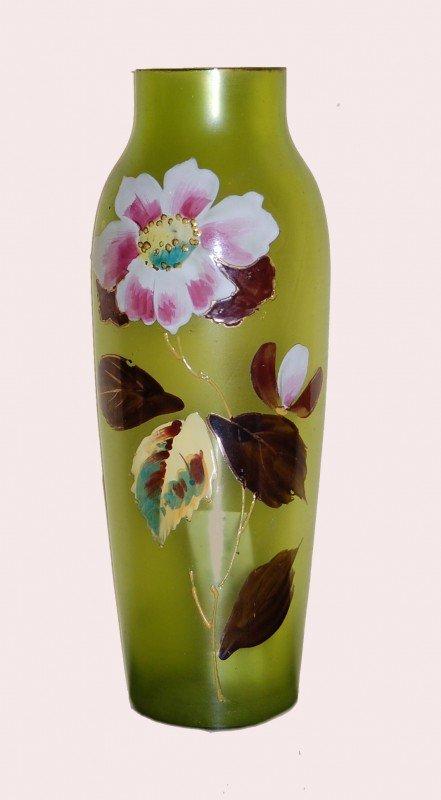 17: Art Nouveau Enameled Glass vase, c 1900