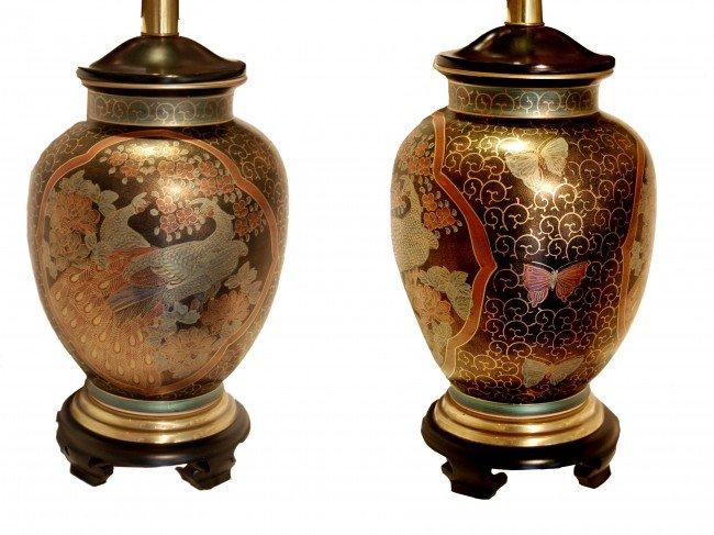 23: Pair of Cloisonné lamps, oriental, identical lamps,