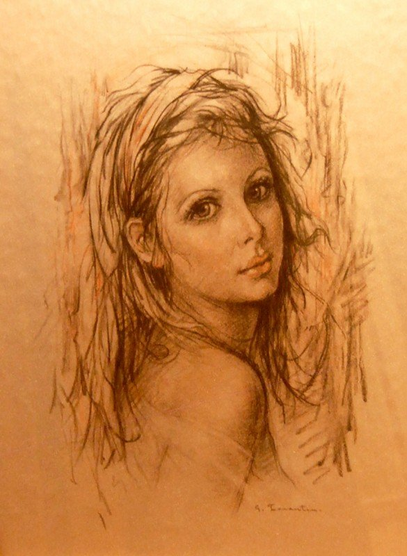 "253: Tarentino ""Portrait"" charcoal on silk"