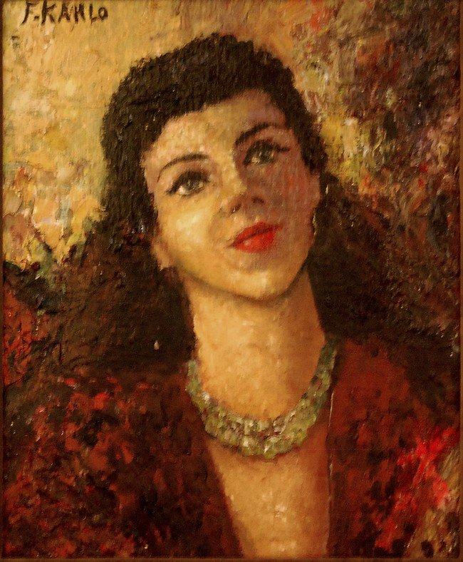 260: signed F Kahlo, Portrait, oil on board, back reads