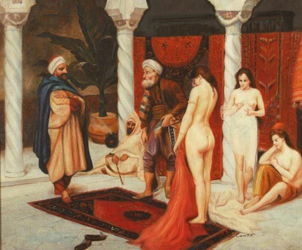 """16: Cowen T.E (20thc)  """"Orientalist Harem Scene"""""""