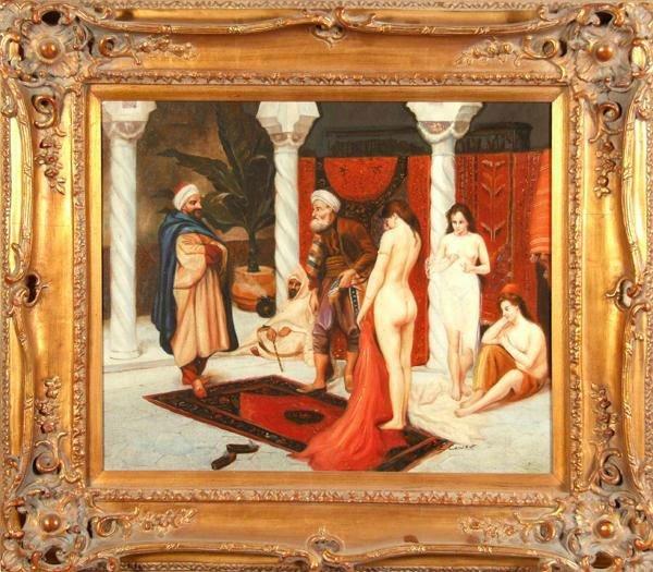"""16: Cowen T.E (20thc)  """"Orientalist Harem Scene"""" - 2"""