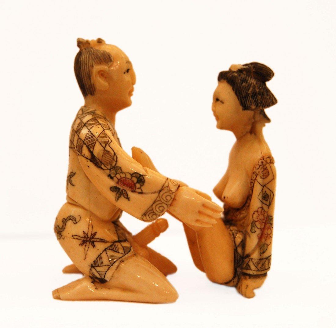 155: unknown artist Japanese erotic bone sculpture