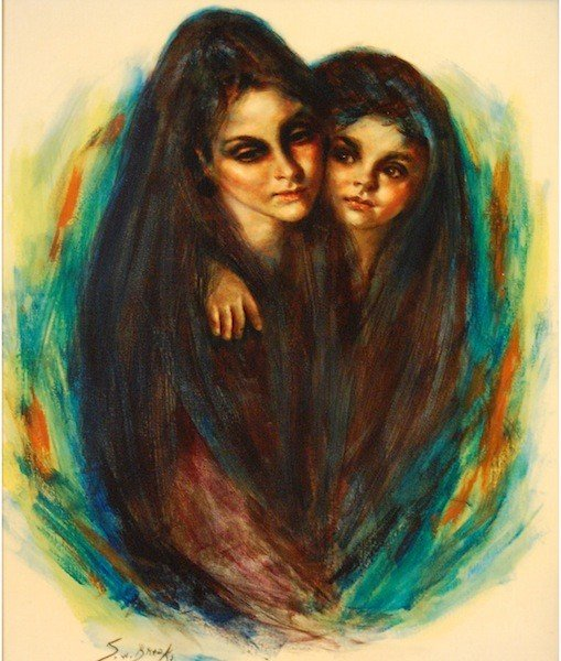 """5: Brooks S.W. (American 20th c) """"Mother And Child"""", oi"""