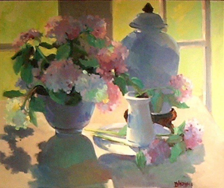 "9: Mendenhall, D ""Geraniums"", oil on canvas, 30x36.   A"