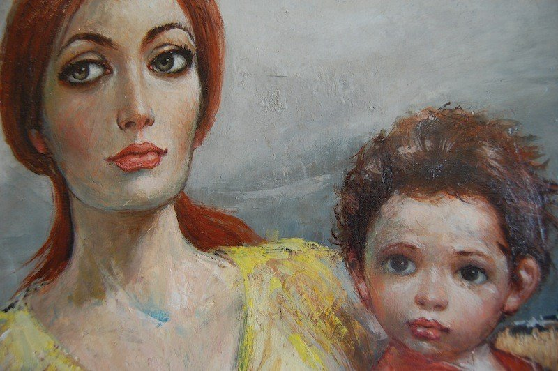 """12: Locca Bernard (French 1927-) """"Mother and Child"""", oi"""