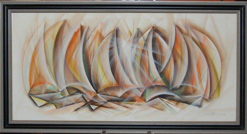 "22:  Franca Ozz (Brazilian 1928-1991) ""Regata"", oil on"