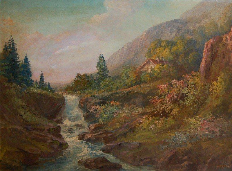 "27: Marino ""Alpine Landscape"", oil on canvas, 30""x40"","
