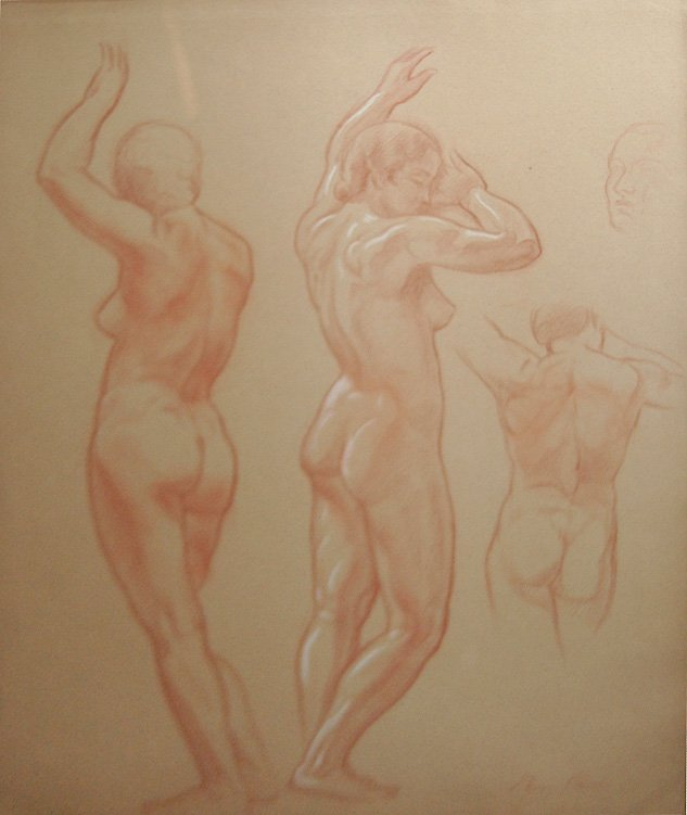 "18: Carré Ben (French 1893-1978) ""Figure Study: Back An"