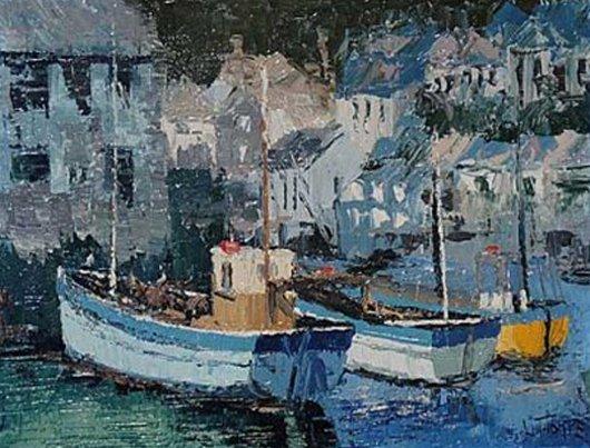 99: Thorpe Lesbia  ''Fishing Boats at dock in Cornwall'