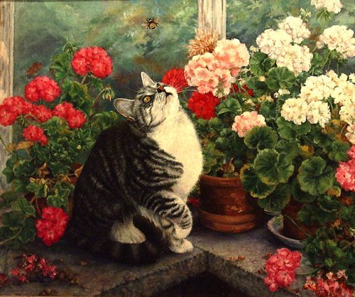 """100: Briggs Anne (British 20th c) """"Cat and the Bee"""""""
