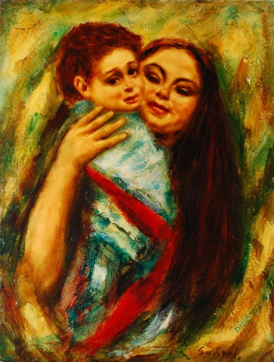 """102: Brooks S.W. (American 20th c) """"Mother And Child II"""
