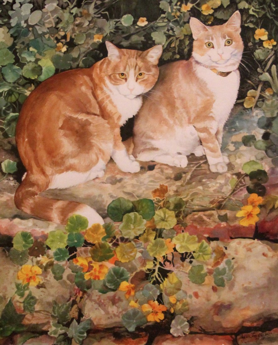 """23: Londraville Phyllis (American 20th c) """"Two Cats"""""""