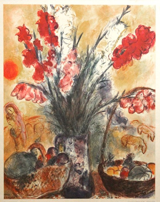 """Chagall Marc (Russian/French 1887-1985) """"Gladioli Bouqu"""