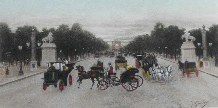 """Giusto Fausto (Italian 1867-1941) """"L'Avenue des Champs"""