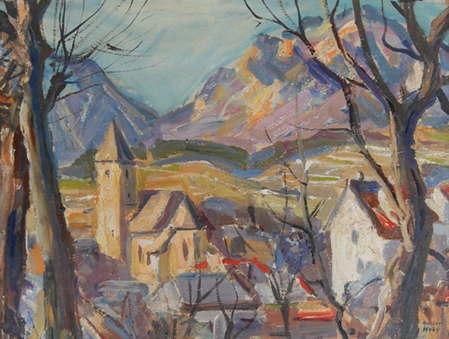"""Holy Adrien (Swiss 1898-1979) """"View of the Town"""""""