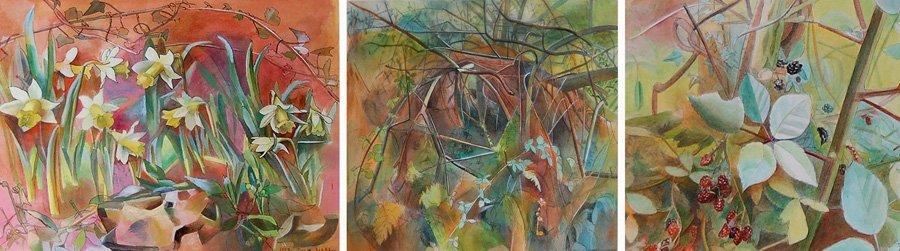 Sorrell Julia (British 1955-) 3 watercolor paintings