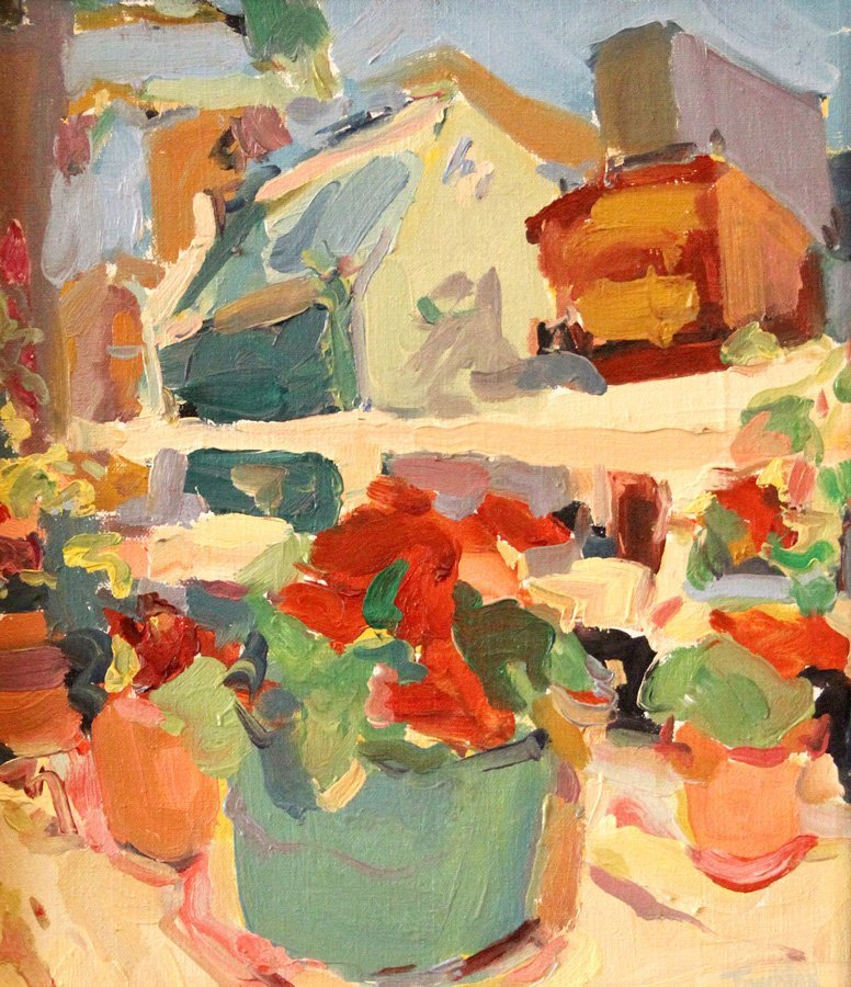 """Touchton Jim (American 1952) """"House"""" oil on canvas,"""