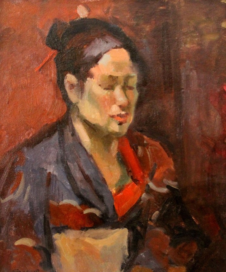 """attributed to Bongart Sergei  """"Portrait with ..."""