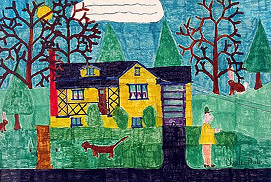 """Dieter Charles (American 1922-1986) """"Man And Dog..."""