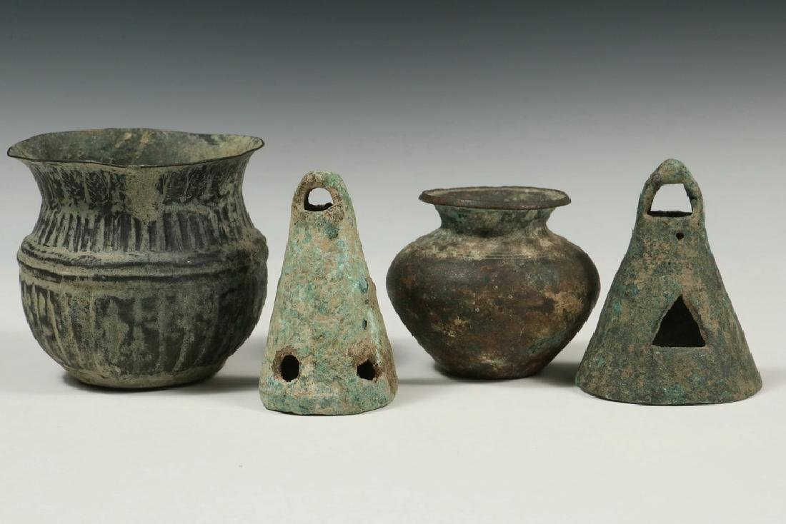 (4 PCS) EXCAVATED MIDDLE EASTERN METALWARE