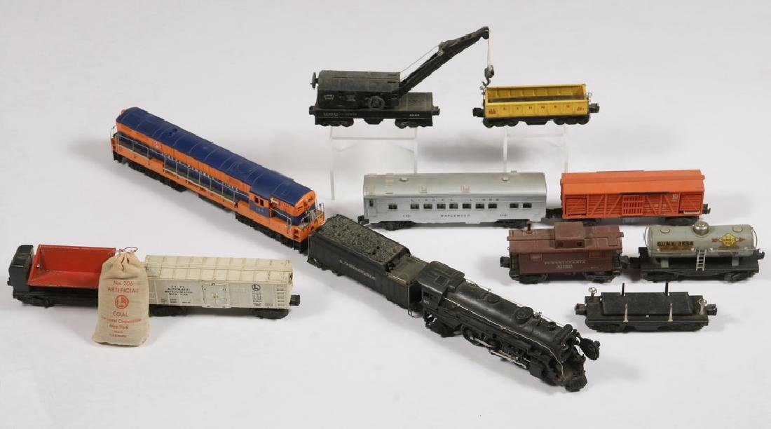 (12) LIONEL 'O' GAUGE TOY TRAIN ENGINES & CARS