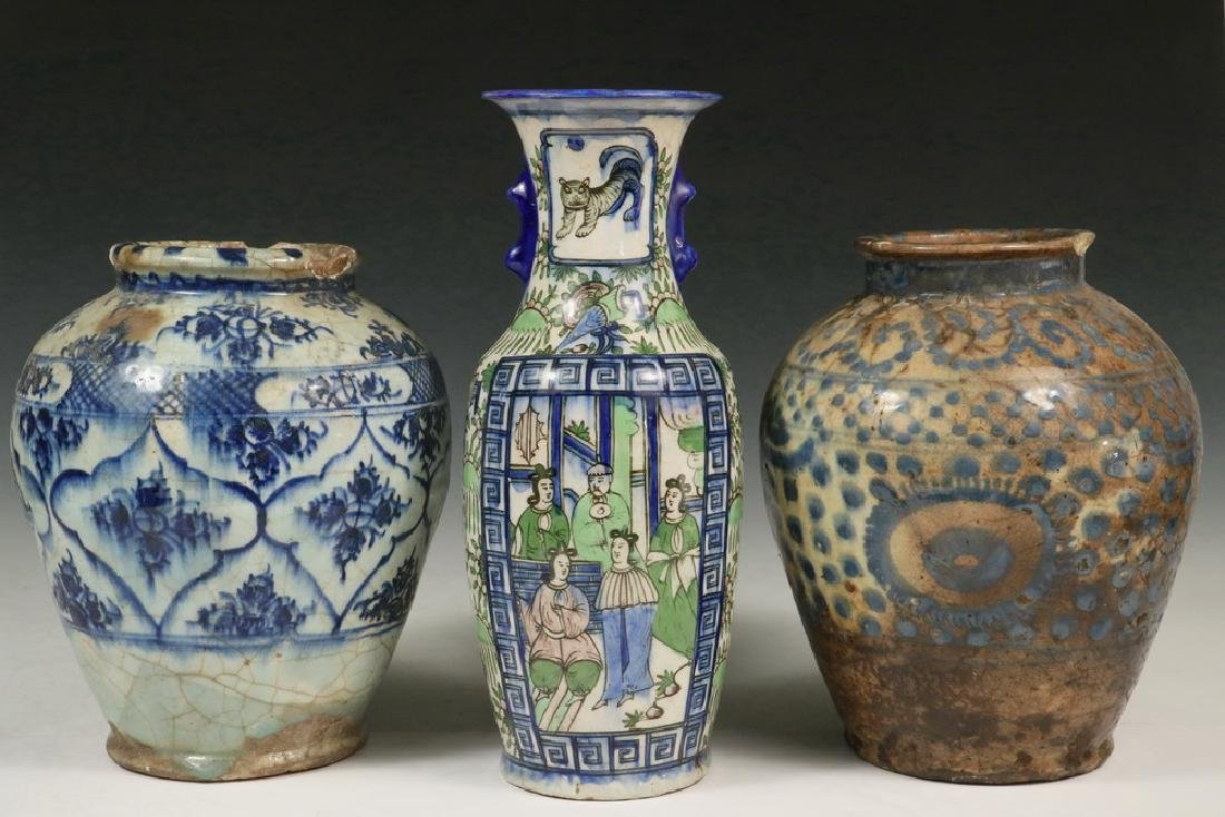 (3) PERSIAN POTTERY VASES