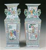 PAIR OF 19TH C TALL CHINESE PORCELAIN VASES