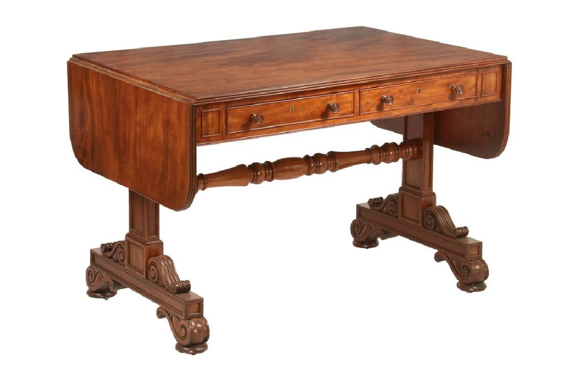 TWO-DRAWER DROP LEAF LIBRARY TABLE BY GILLOWS