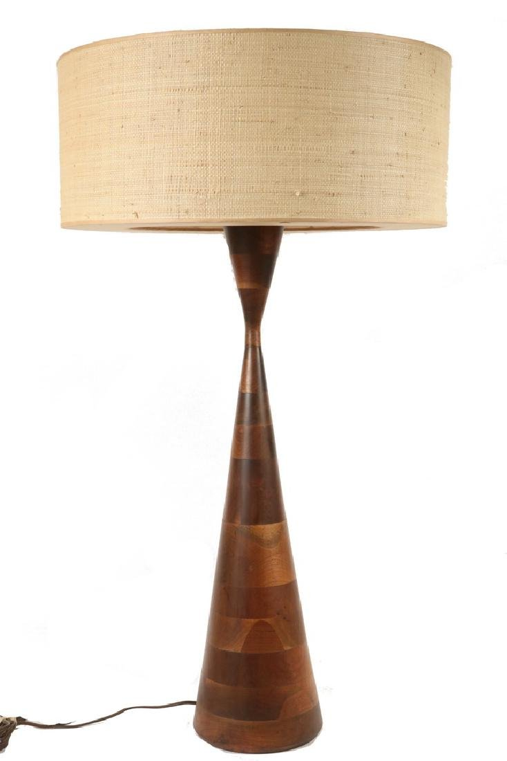 NAKASHIMA STYLE TURNED WOOD TABLE LAMP WITH ORIGINAL