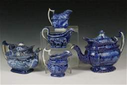 5 PCS DARK BLUE STAFFORDSHIRE TRANSFERWARE