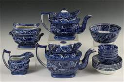 15 PCS DARK BLUE STAFFORDSHIRE TRANSFERWARE