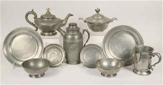 9 PCS 19TH C PEWTER