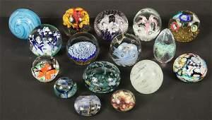 (16) ART GLASS PAPERWEIGHTS