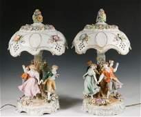 PAIR FINE GERMAN PORCELAIN LAMPS