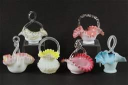 (6) VICTORIAN GLASS BRIDE'S BASKETS