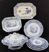 8 PCS STAFFORDSHIRE BLUE TRANSFERWARE