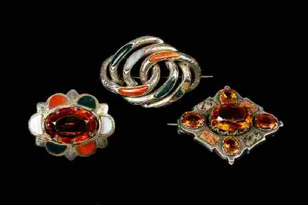 (3) SILVER & AGATE BROOCHES