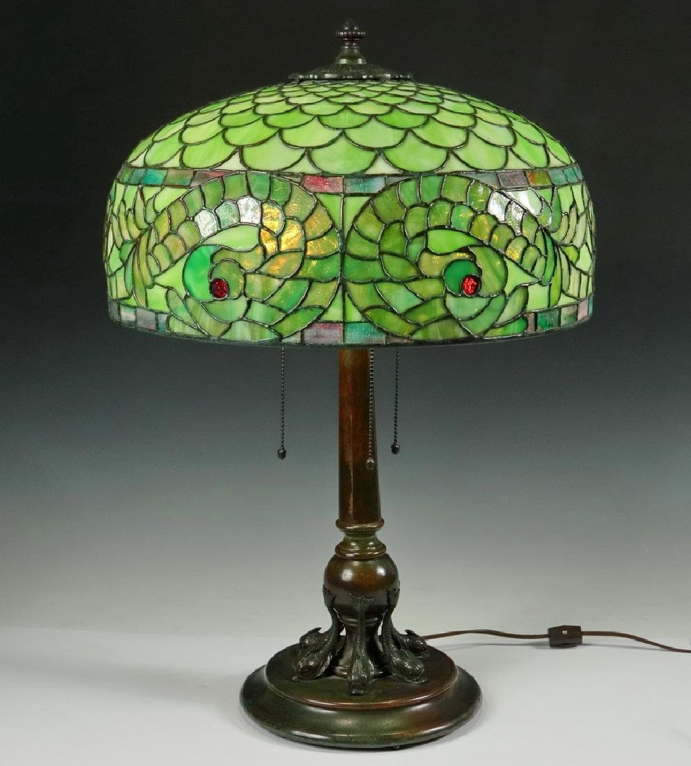 LEADED GLASS SHADE DOLPHIN TABLE LAMP